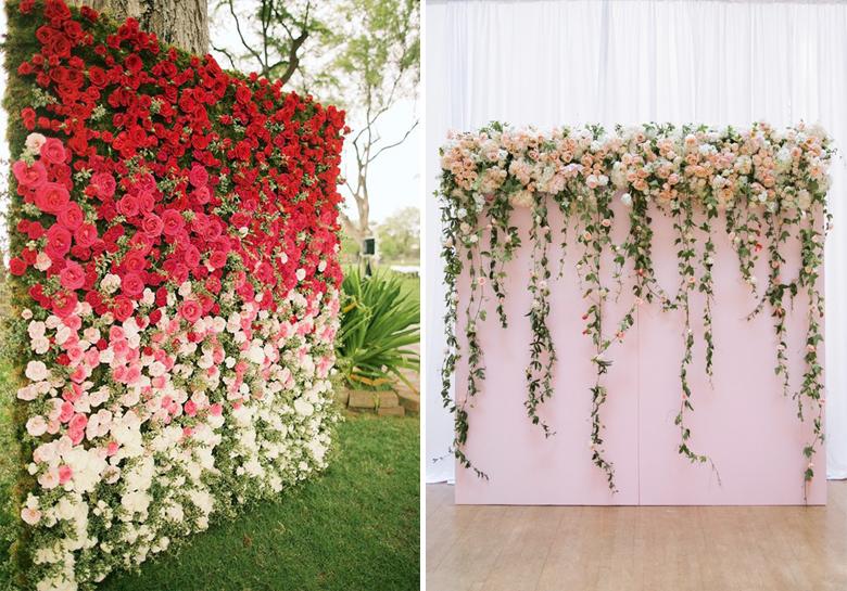 Resultado de imagem para decoração de casamento com Paineis de Flores e plantas
